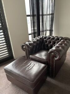 Moran Leather Armchair with Matching Ottoman