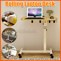 Rolling Height Angle Adjustable Laptop Desk Overbed Food Tray Table Wood  US