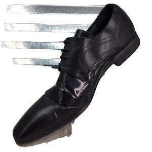 Steve Harvey Lorenzo Derby Cap Toe Dress Men Faux Leather Black Shoe Size 11.5