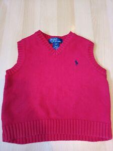 Ralph Lauren Polo  boys/girls red Knit Tank Top Sleeveless Jumper size 3/3T