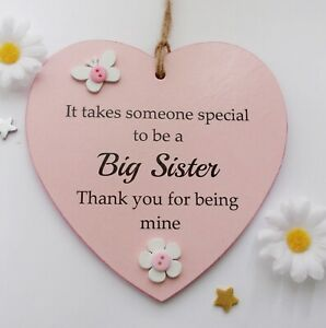 It takes someone special to be a Big Sister handmade wooden heart gift plaque