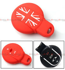 FOR 2015-2017 MINI COOPER KEY FOB RED UNION JACK SILICONE PROTECTIVE CASE COVER