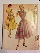 Vtg 50's McCall's Dress Sewing Pattern Rockabilly Uncut  #8796 Size 11 Bust 29