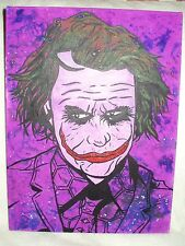 Canvas Painting Dark Knight Joker Face Purple Art 16x12 inch Acrylic