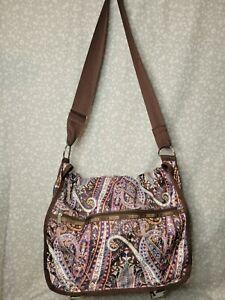 LeSportsac~Nylon~ Messenger Travel Bag Crossbody/Adjustable Strap Brown Paisley