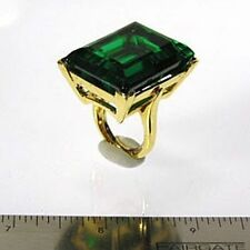 "Kenneth Jay Lane Large Crystal Emerald Gold Adjustable Ring 5 - 9 ""As Is"""
