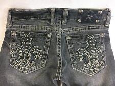 Miss Me Gray Black Denim Jeans Embellished Fleur de Lis - Women's Size 26