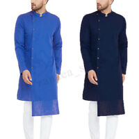 INCERUN Men's Indian Shirts Long Sleeve Collarless Irregular Kurta Thobe Dress