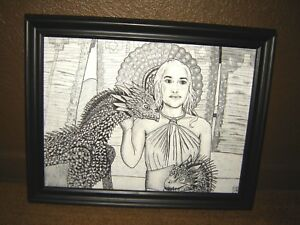 Realistic GAME of THRONES Daenerys Targaryen & Dragons ORIGINAL ART 15x11 inches