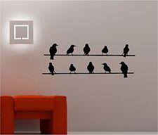 Aves En Un Alambre Salón Infantil Pegatina Adhesiva Vinílica Pared Dormitorio