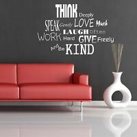 LOVE LAUGH WORK KIND SPEAK WALL QUOTE WALL STICKER DECAL MURAL STENCIL MURAL