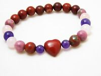 Red Heart Love Jasper Bracelet Natural Quartz Crystal Healing Stone Bead Unisex