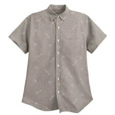 Disney Store Gray Coco Button-Up Short Sleeve Large Shirt for Men New w/Tags