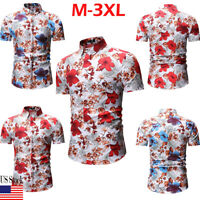 Fashion Men's Slim Fit Floral Shirt Short Sleeve Cotton Dress Shirts Casual Tops