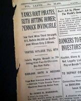 Best NEW YORK YANKEES Win World Series Game 2 w/ Babe Ruth HR 1927 NY Newspaper