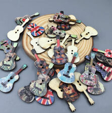 100pcs Mix Color Guitar Handmade Wooden Button Decoration Sewing Scrapbook 36mm