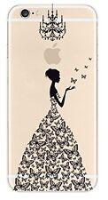 Coque gel souple incassable motif fantaisie pour iPhone SE  (Robe noire)