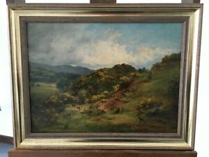 Orig. Ölgemälde Samuel Edmonston  Schott. Landschaft mit weidenden Kühen  1850