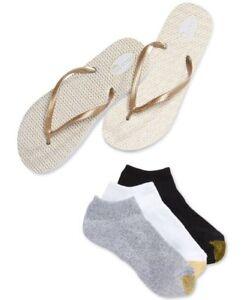 GOLDTOE women's 3-pair Liner Socks w/ Metallic Flip Flops MED 6/7