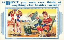 RUDE RISQUE COMIC DON'T YOU EVER THINK of ANYTHING ELSE BESIDES RACING POSTCARD