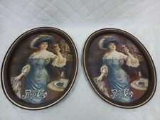 Pepsi Cola Tin Tray Victorian Lady Drinking 5 Cent Vintage Reproduction Pair