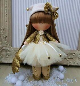 Xmas Fairy Rag doll UK made Tilda doll Ooak doll Art doll MERRY 8 inch tall