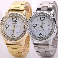 Women's Men's Rhinestone Crystal Stainless Steel Alloy Analog Quartz Wrist Watch