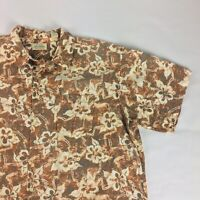 St John's Bay Men's Hawaiian Short Sleeve Button Up Floral Shirt Size XX-Large