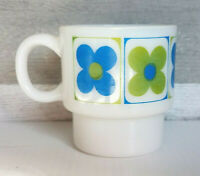 Fire King White Milk Glass Blue & Green Flowers Coffee Mug Retro 70's Cup