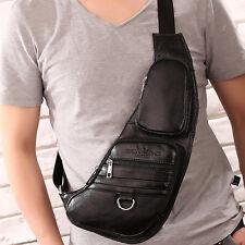 Men Genuine Leather Messenger Shoulder Bag Travel Sling Backpack Chest Day Pack