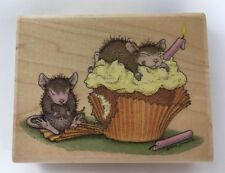 House Mouse Birthday Cupcake Rubber Stamp Muzzy Mudpie Stampabilites