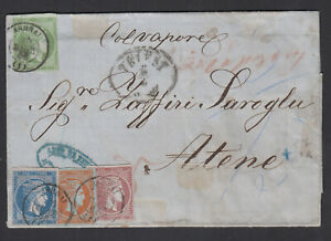 GREECE - COVER 1866 WITH DIFFERENT STAMP VERY RARE
