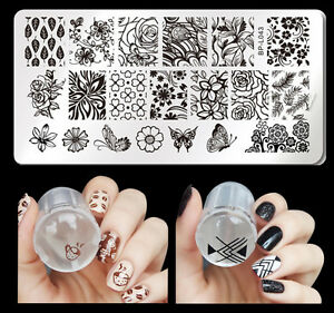 3Pcs/set Born Pretty Nail Art Stamping Plate Butterfly Theme Stamper Scraper Kit