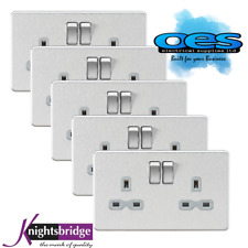 Knightsbridge Screwless Flatplate 13A 2 Gang Switch Socket Brushed Chrome 5 PACK