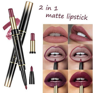 1Pc Lip Liner with Matte Lipstick Double Ended Waterproof Long Lasting Lipstick