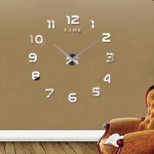 Design Wand Uhr Wohnzimmer wanduhr Spiegel Metall wandtattoo Deko XXL XL 3D DHL!