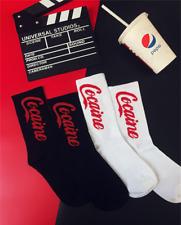 Ins Cocaine Cotton Socks Men Women Streetwear Hip Hop Sports Mid Socks Fashion