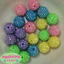Mixed Pastel 20mm Resin Rhinestone Chunky Bubblegum Beads 20pc, 5 colors