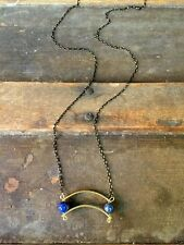 Anthropologie Blue Lapis Lazuli Stone Curved Brass Arc Black Gold Chain Necklace