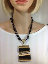 CHICO'S Black & Gold Beaded Necklace