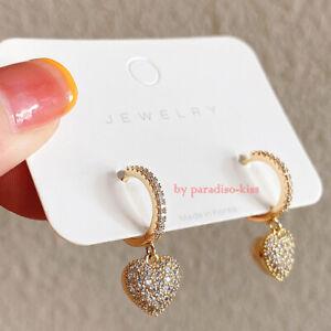 coppia orecchini donna cerchie cerchio cuore strass argento dorato R116