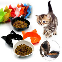 Shallow Cat Food Bowl Wide Dish Non-Slip Cat Shape Cats Feeding Feeder Bowl