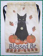 Samhain Black Cat Tarot card bag for fairy angel & Wicca tarot cards, Halloween