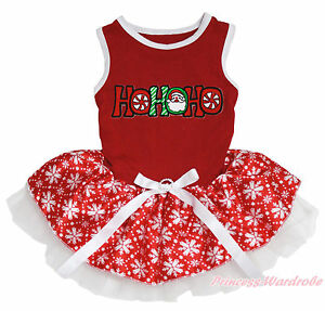 Christmas HOHOHO Santa Claus Red Top White Snowflakes Skirt Cat Pet Dog Dress