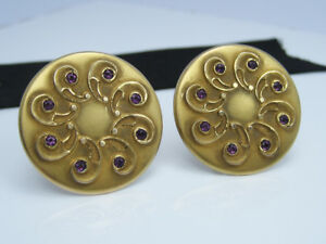 Antique Art Deco 14K Yellow Gold GF Blue Glass Paste Rhinestone Cufflink Buttons