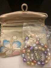 Honora Collection Necklace Cultured Pearls Ringed Strand, Pastel Wildflowers NIB