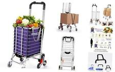 Stair Climb Collapsible Shopping Trolley Cart Portable Folding Purple Amp Silver