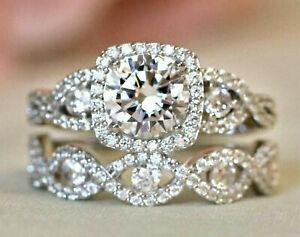 3.20Ct Round Cut Diamond Engagement Wedding Bridal Ring Set 14k White Gold Over