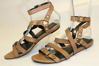 Kenneth Cole Exchange Womens 7.5 M Brown Leather Gladiator Sandals Flats Shoes