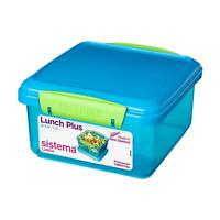 Sistema Lunch Plus Sandwich Box 1.2L Travel Fresh Food Container Assorted Colour